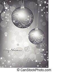 ball., 矢量, 銀, 背景, 聖誕節