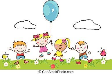 balloon, 孩子, 公園, 玩, 愉快