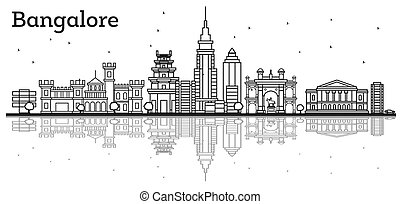 bangalore, reflections., 具有歷史意義的建築物, 地平線, outline