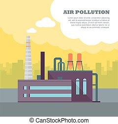 banner., 管子, 工廠, 空氣, 煙霧, 污染