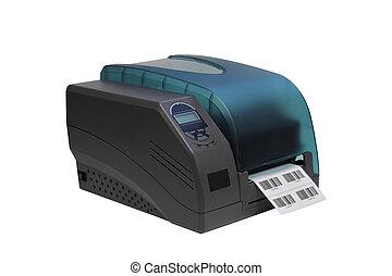 barcode, 在上方, 標簽, 背景, 被隔离, 打印机, 白色