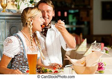 bavarian, 吃, 夫婦, 餐館
