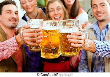 bavarian, 喝酒, 啤酒, pub, 人們