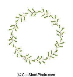 berries., 綠色, 最簡單派藝術家, 框架, 末梢, wreath., 樣板, laconic, 標識語, greetings., border., 離開, 矢量, 時髦, 設計, 邀請, 輪, 插圖, 脫落