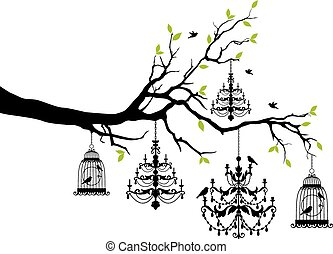 birdcage, 枝形吊燈, 樹
