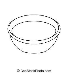 bowl-, 黑色, 矢量, 黑色半面畫像, 插圖