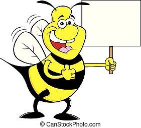 bumble, 給, 徵候。, 向上, 蜜蜂, 當時, 拇指, 藏品, 卡通, 愉快