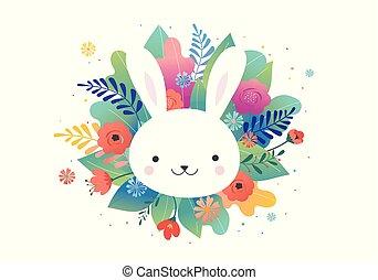 bunny., 漂亮, -, 問候, 矢量, 設計, 花, 復活節, 卡片