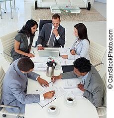 businessteam, 工作, 高, 會議, 角度