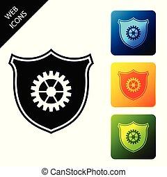 buttons., 集合, 盾, 鮮艷, 圖象, isolated., 插圖, 矢量, 廣場, 圖象, 齒輪