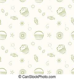 c, cupcakes, 糖果, seamless, 手, 圖樣, 矢量, 畫