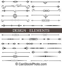 calligraphic, 元素, 頁, 舞台裝飾, 集合, 矢量, 設計