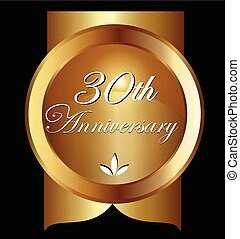 card., 金, 30, 問候, 週年紀念, 矢量, 設計, 年