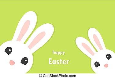 card., bunnies, 問候, 二, 白色, 復活節