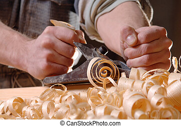 carpenter's, 飛機, 人, 手