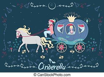 carriage., 旗幟, graphics., fairytale, cinderella, 矢量, inscription.