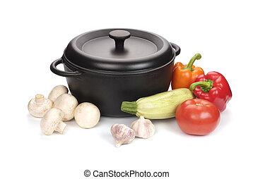 cast-iron, 蔬菜, 黑色, 大鍋