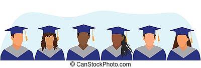 ceremony., 种族划分, 藍色, 畢業, 學院, 插圖, 畢業, 廣場, cap., 黑暗, 披, 不同, 矢量