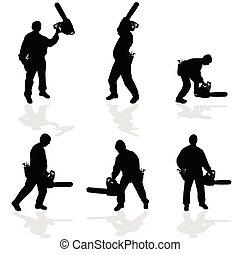 chainsaw, 矢量, 插圖, 人