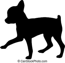 chihuahua., 黑色半面畫像, 插圖, 矢量