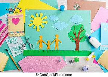 child., 膠, 剪刀, 上色, 做, 紙, 拼貼藝術, 美麗