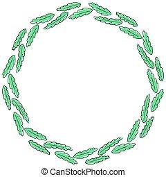circle., freehand, 卡片, vector., 簡單, 或者, 末梢, 設計, 輪, invitation., drawing., element., 問候, 葉子, 框架, leaves., 做, 樣板
