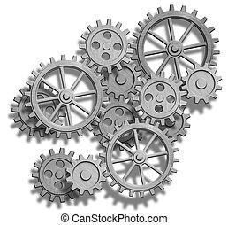 clockwork, 摘要, 白色, 被隔离, 齒輪