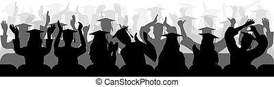 close-up., 黑色半面畫像, 快樂, 坐, 矢量, 椅子, 鼓掌歡迎, 畢業, illustration.