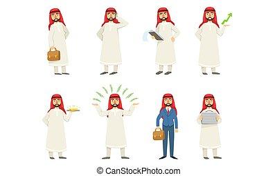 clothes., 集合, illustration., 人, 白色, 矢量, 圖像, arab