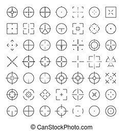 collimator, 戰爭, silhouettes., set., 狙擊手, 十字准線, 槍, 目標, ar, 視力, 步槍, 軍事, thinline, 自動, 范圍, glyphs., 圖象