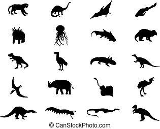 colour., 插圖, 恐龍, 黑色半面畫像, 矢量, 黑色