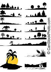 colour., 插圖, 矢量, 黑色, 樹, 風景