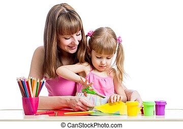 concept., items., 工藝, diy, 母親, 學齡前儿童, 教, 孩子