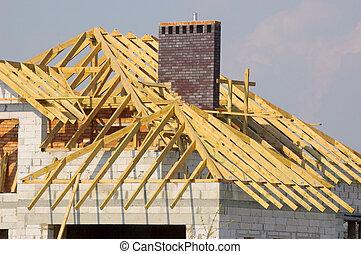 constuction, 屋頂, 在下面