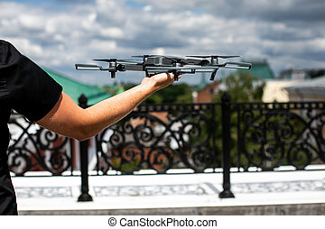 copter, 數碼相机, 著陸, hands., 人, 雄峰, 手。, 攝影師, 飛行