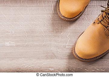 copyspace, 工作, 圖像, 二, 靴子, 木頭, 板