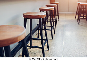 counter., 酒吧, 木制, 在旁邊, 椅子, cafe., 空