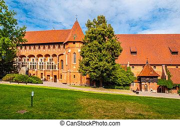 courtyard., 掌握, 盛大, 外部, chapel., 城堡, 看法, malbork, 波蘭