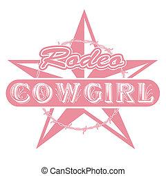 cowgirl, 牛仔功夫, 藝術, 夾子