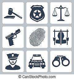 criminal/police, 矢量, 集合, 被隔离, 圖象