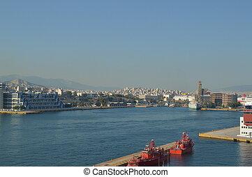 cruises., 旅行, 商業, 港口, 2, piraeus, 拿, 2018., greece., 七月, 風景, cruise., 建築學