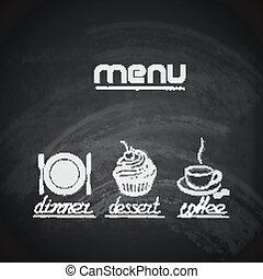 cupcake, 杯子, 菜單, 叉子, 盤子, 設計, 咖啡, 葡萄酒, 黑板, 刀