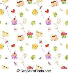 cupcakes, 圖案, seamless, 蛋白杏仁甜餅, 手, 茶杯, 畫
