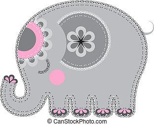 cutout., 織品, 動物, 大象