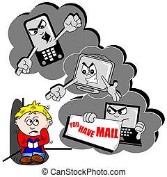 cyber, 卡通, 脅迫