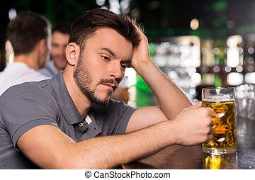 day., 酒吧, 被蕭條, 努力, 它, 年輕, 頭髮, 啤酒, 藏品, 喝酒, 手, 是, 人
