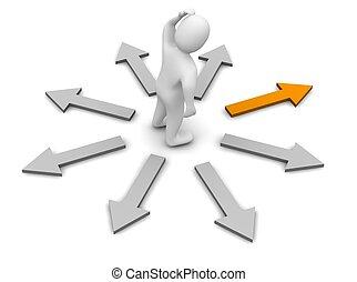 direction., 提供, illustration., 權利, 選擇, 3d