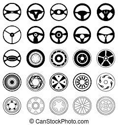 disks., 汽車, 顏色, 插圖, 黑色半面畫像, 矢量, 黑色, 輪子