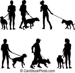 dogs., 黑色半面畫像, 矢量, illustration., 人們