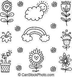 doodles, 主題, 插圖, 春天